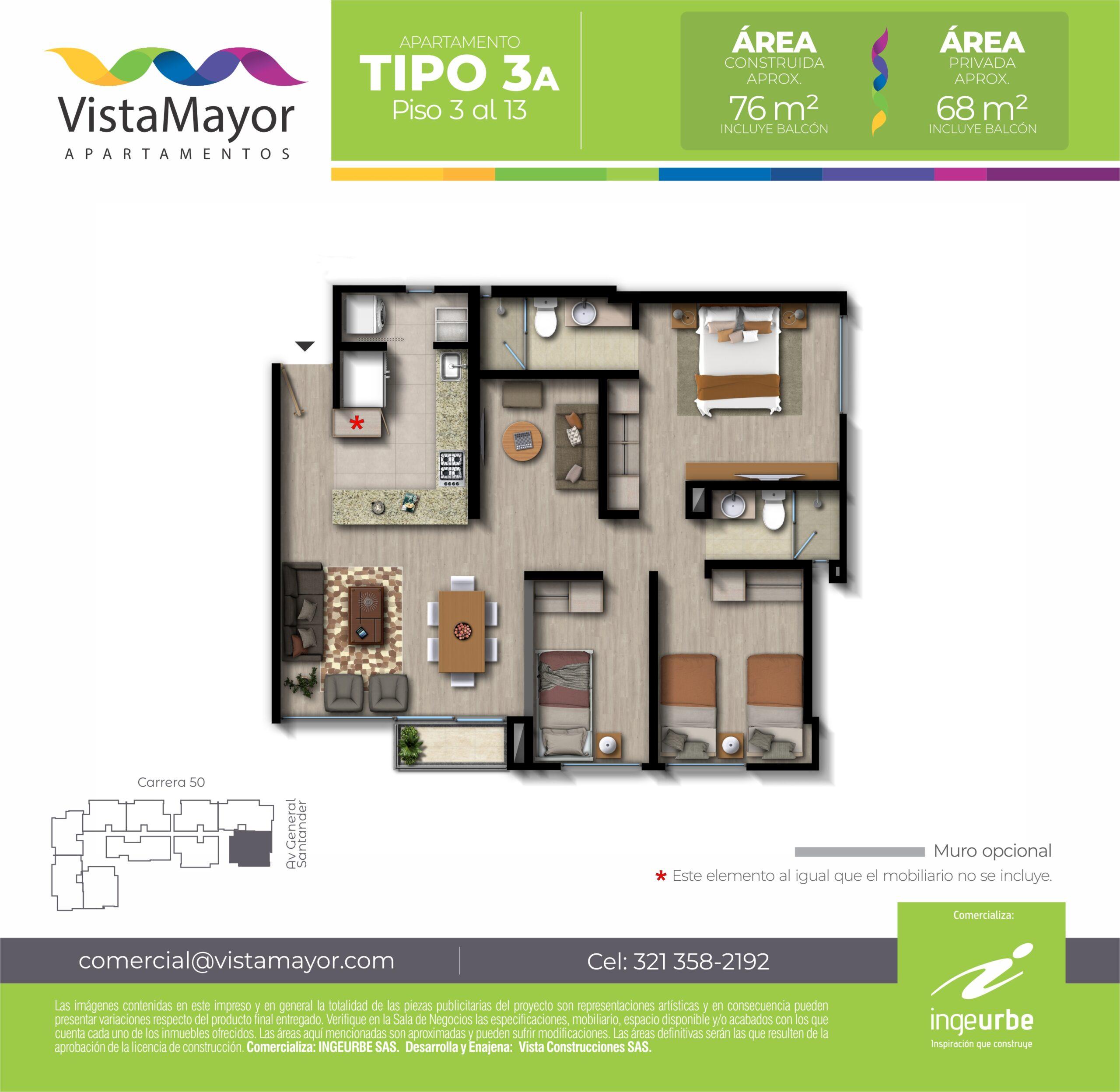 TIPO 3A         Área construida aprox.:    76  m2          Área privada aprox:    68  m2          Precio desde: $420.003.419